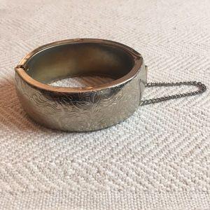 Vintage Etched Silver Cuff Bracelet